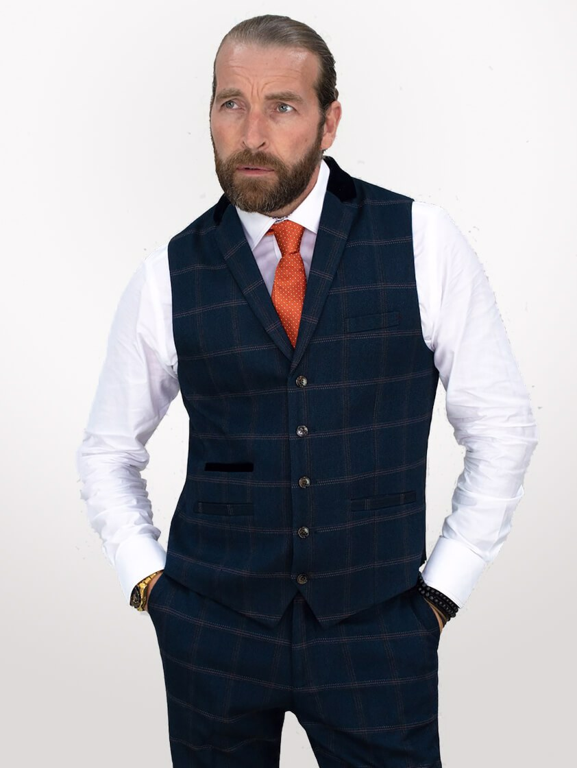 Navy Connall Tweed Style Suit