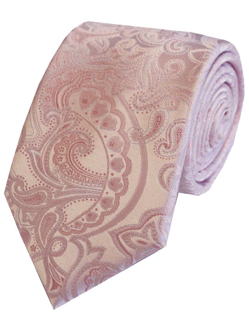 Pink Large Paisley Patterned Tie