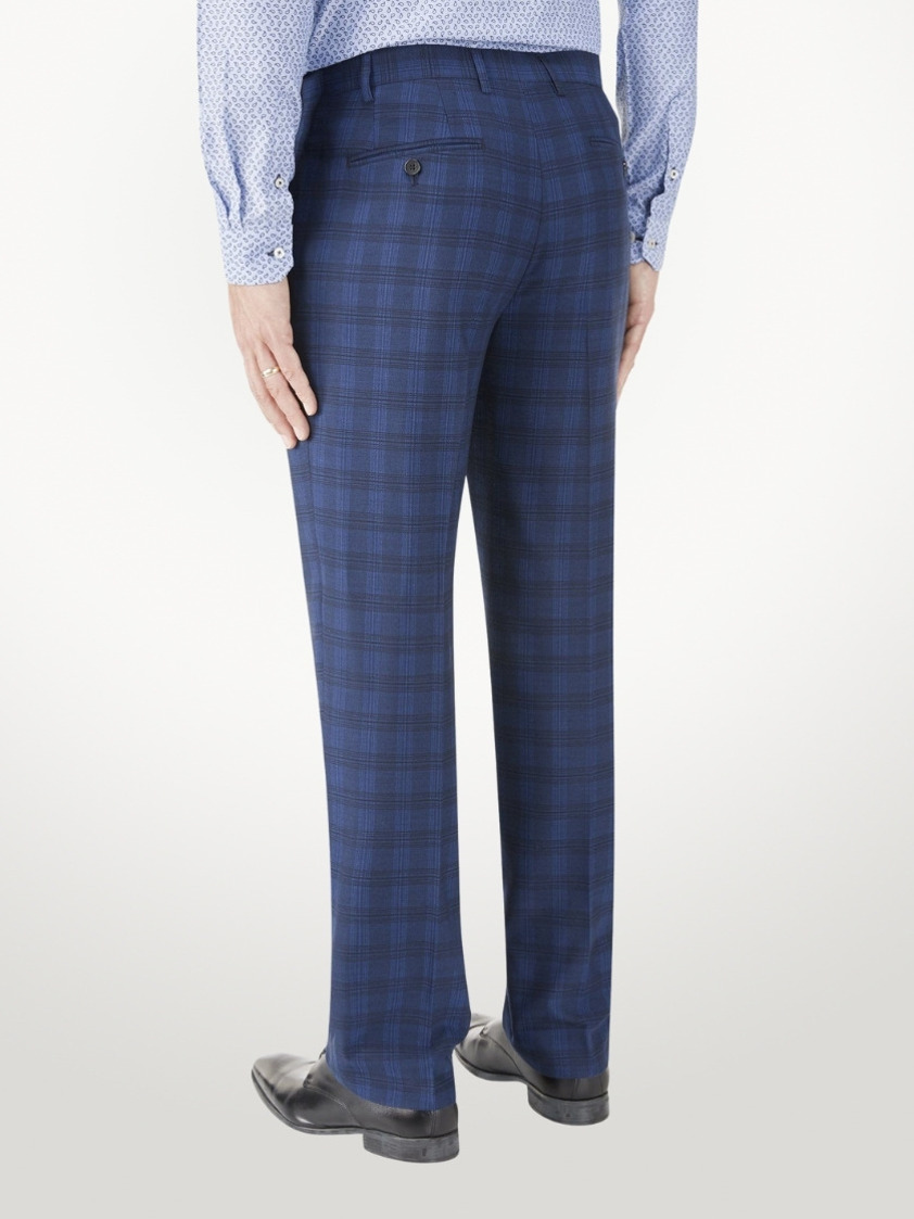 Blue Felix Tailored Check Trousers