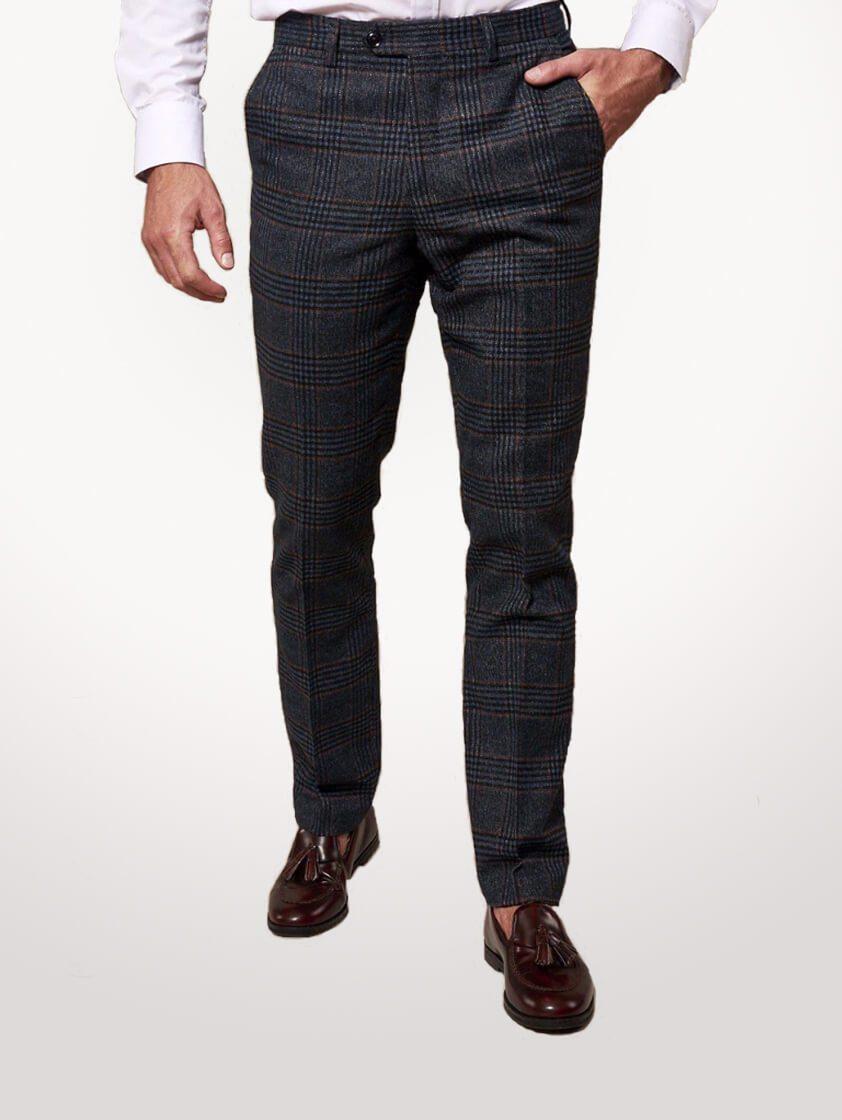 Navy Luca Tweed Check Suit