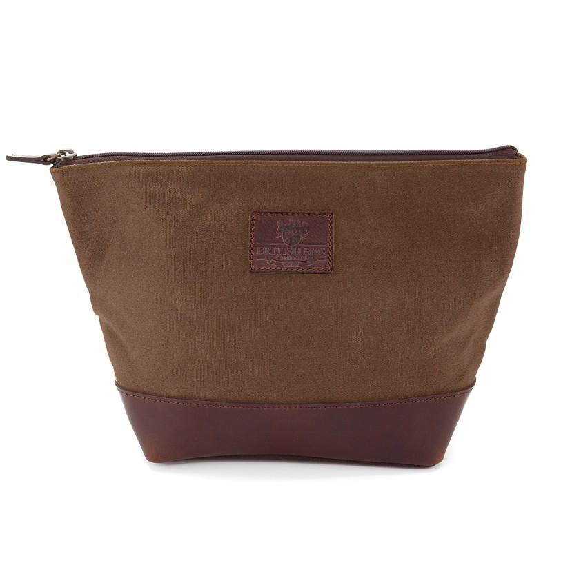 Brown Waxed Canvas Wash Bag