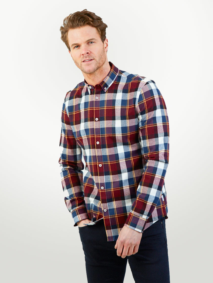 Burgundy Motala Check Shirt