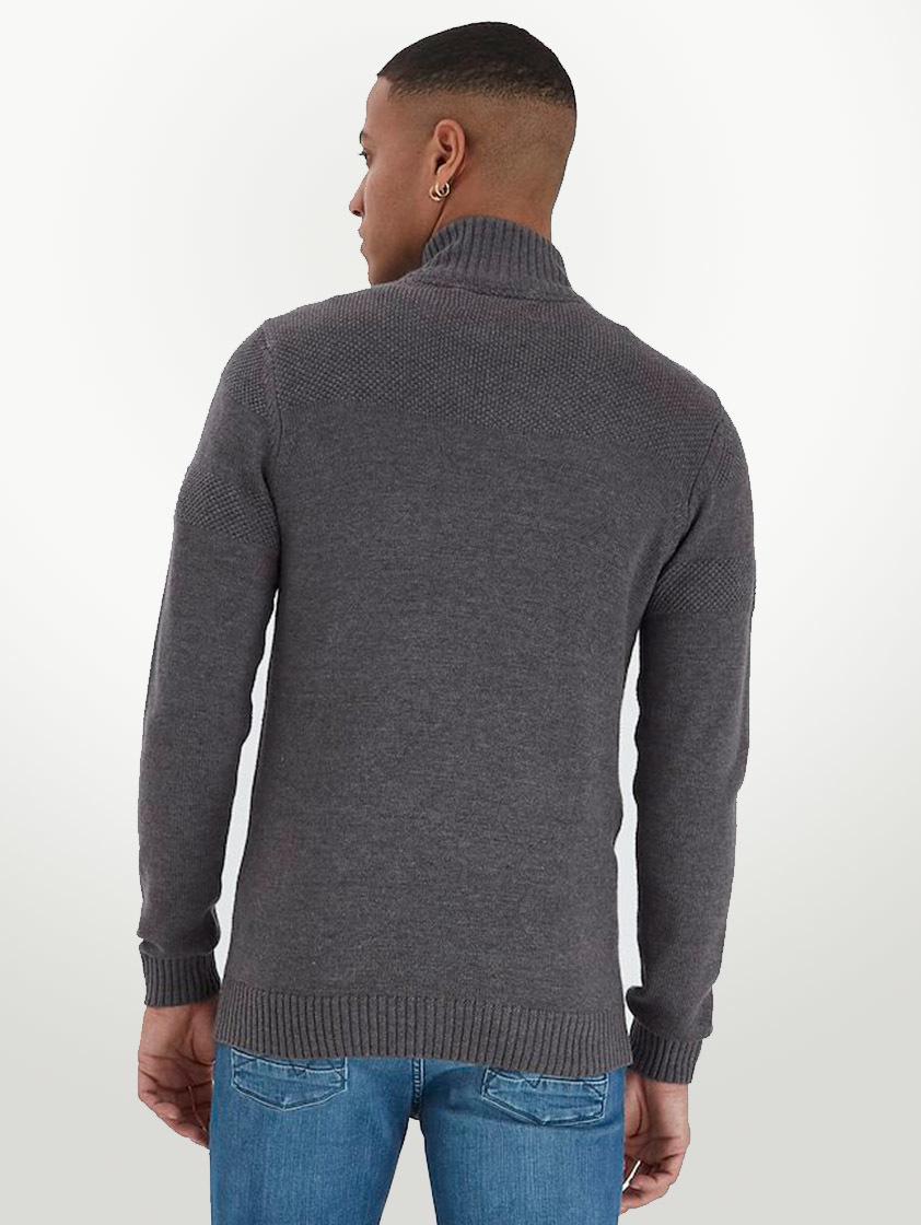 Black Zip Up Textured Cardigan