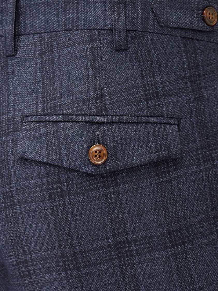 Blue Minworth Blue Check Tailored Trousers
