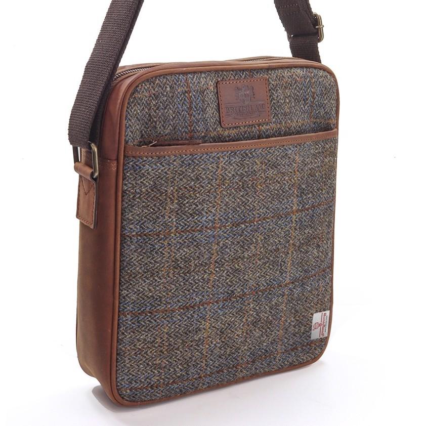 Brown Carloway Large Harris Tweed Cross Body Bag