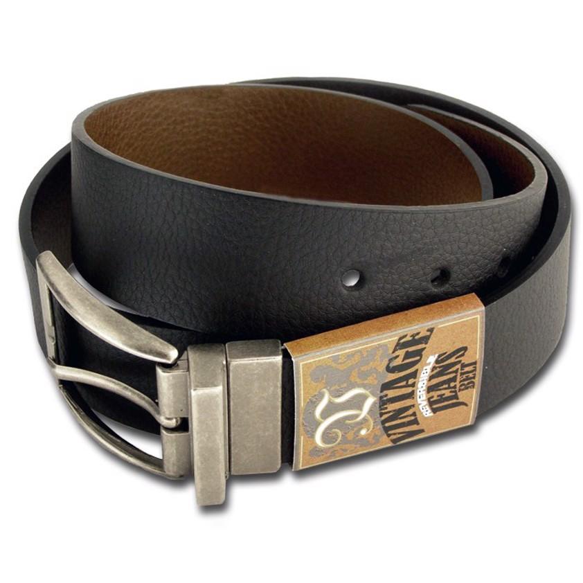 Reversible Jeans Black/Brown Belt