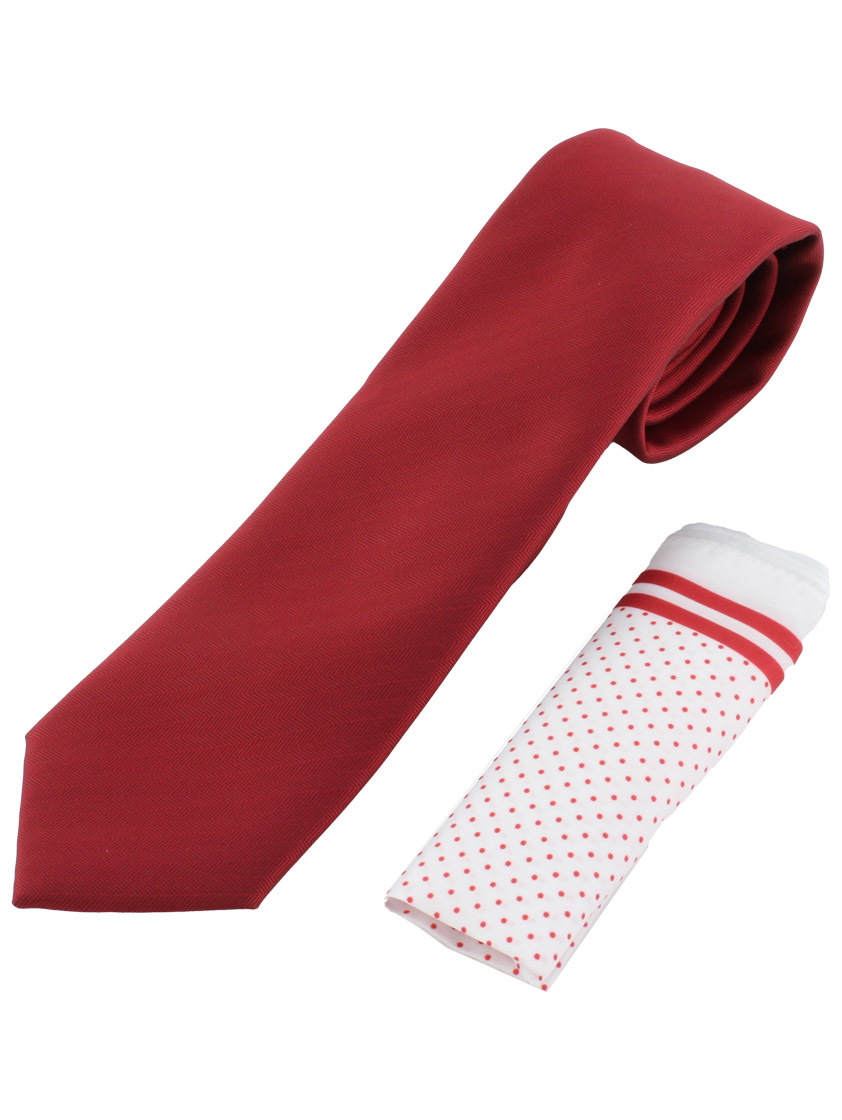 Red Classic Weave  Tie and hank set