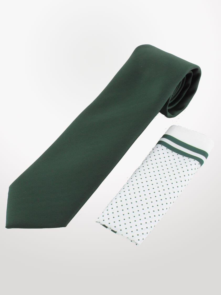 Green Classic Weave Tie and hank set