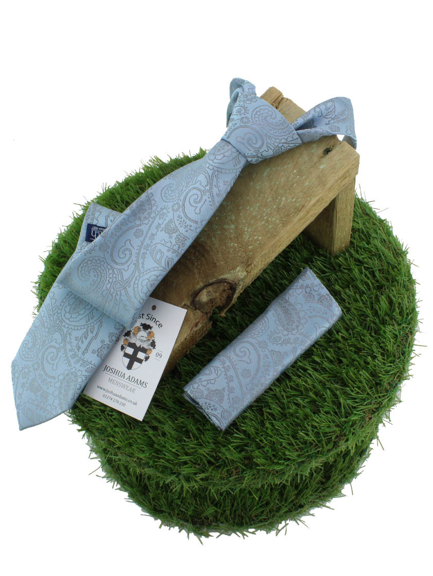 Sky Paisley  Tie and hank set