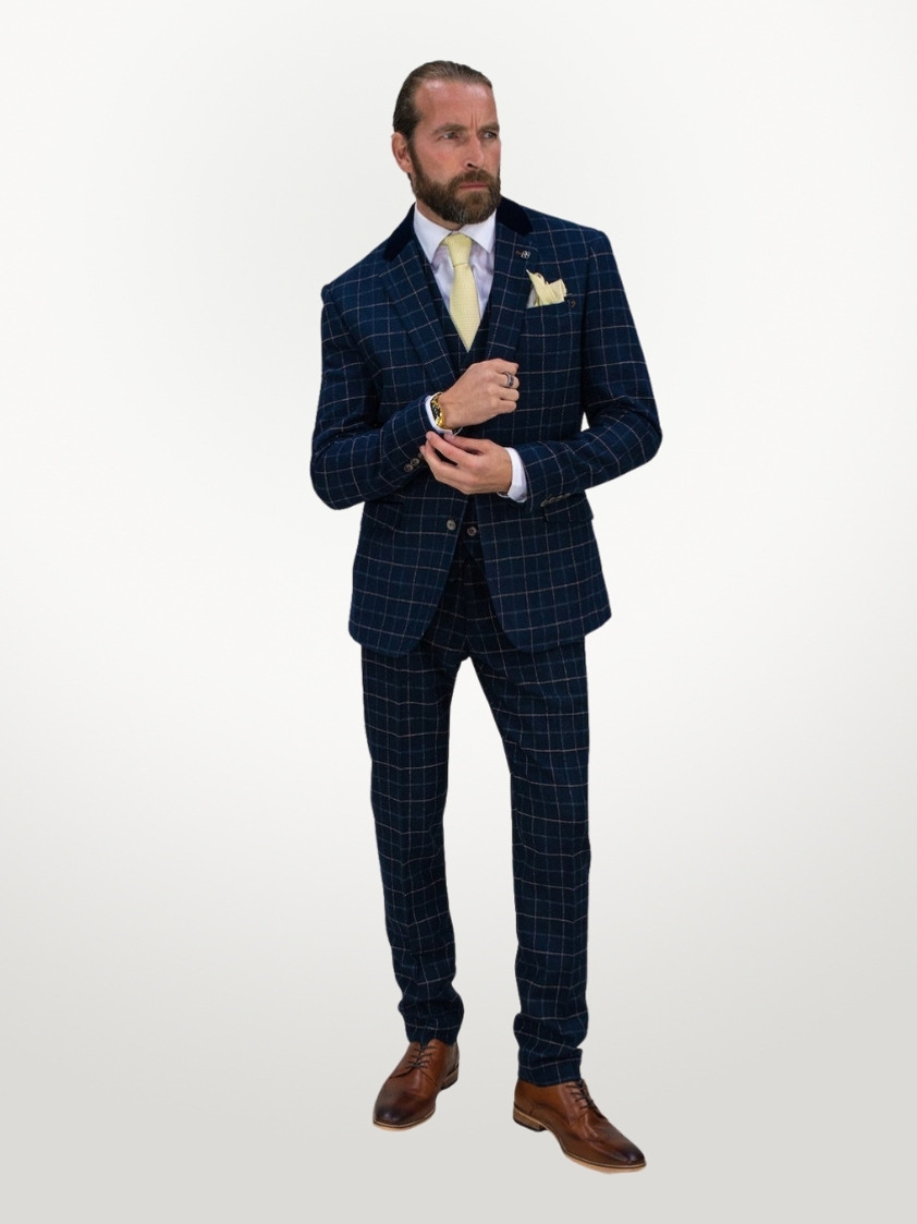 Navy Shelby Tweed Check Slim Fit Trousers