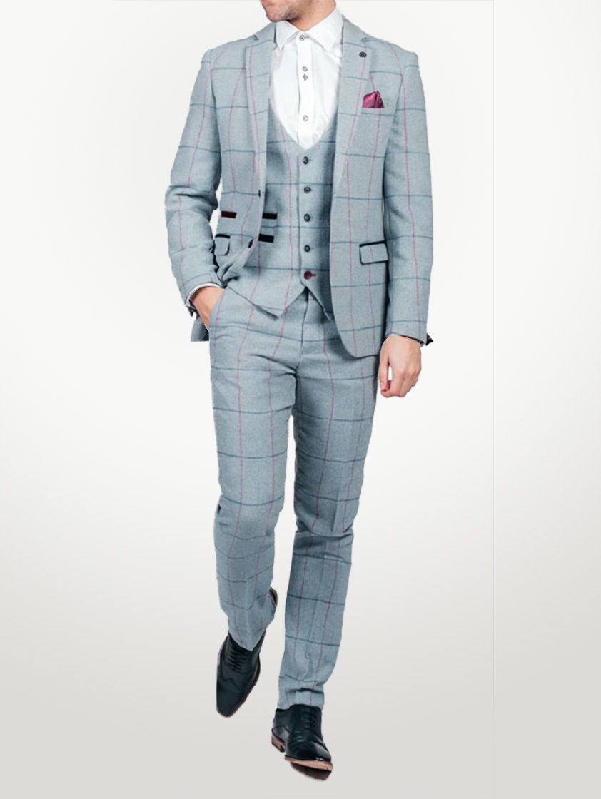 Sky Nicolas Tweed Check Suit