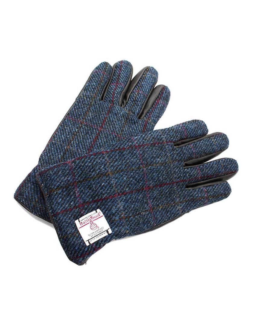 Navy Harris Tweed  Gloves