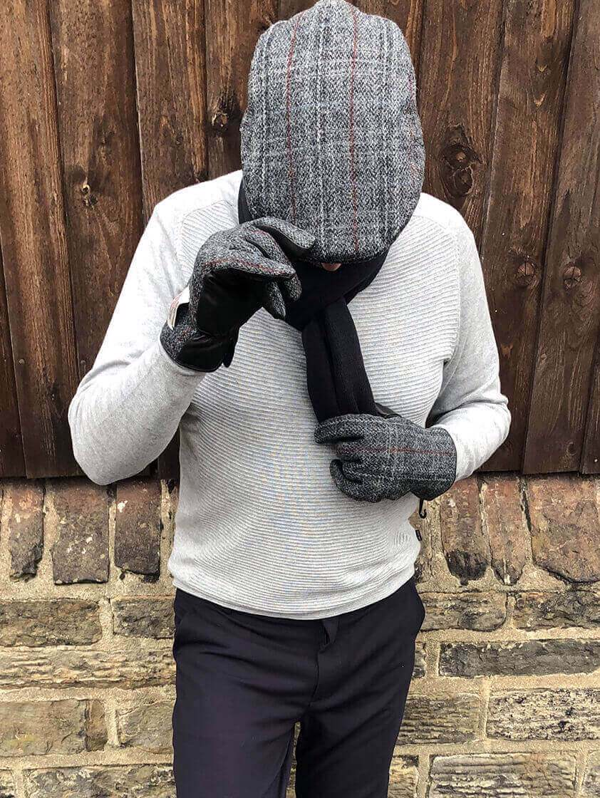 Grey Harris Tweed  Gloves