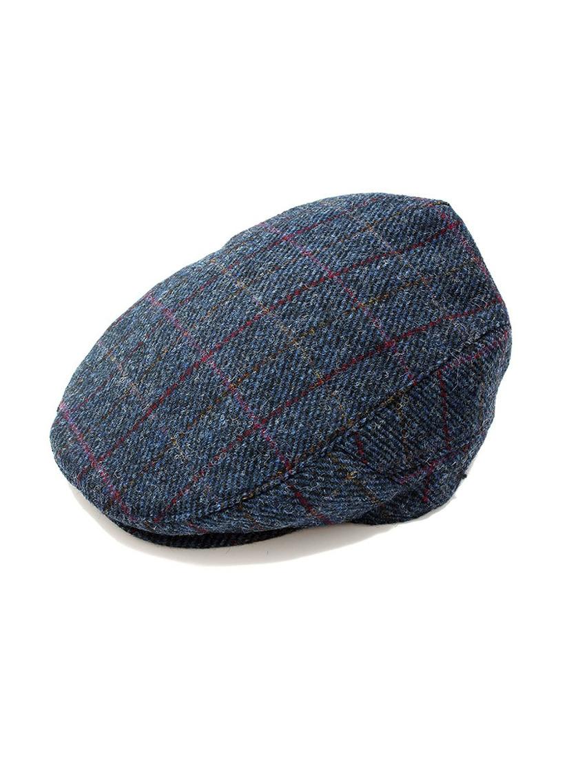 Navy Harris Tweed Flat Cap