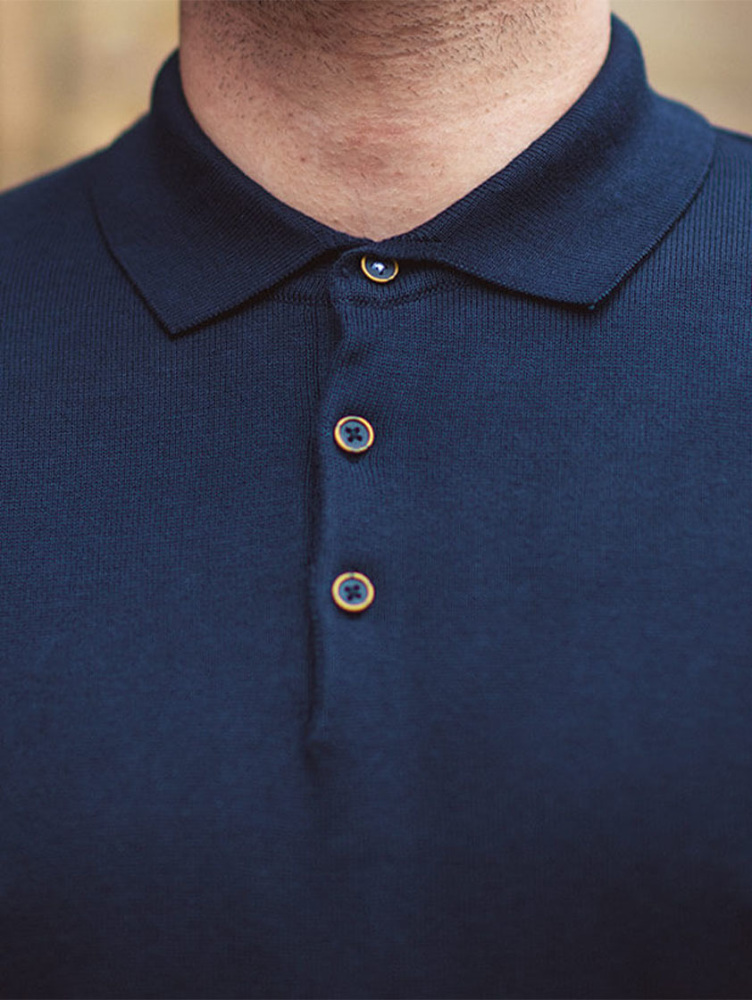 Navy Knitted Slim Fit Polo