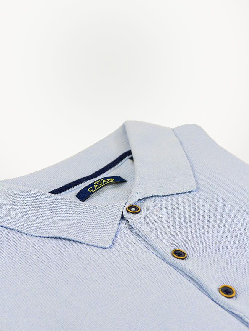 White Knitted Slim Fit Polo