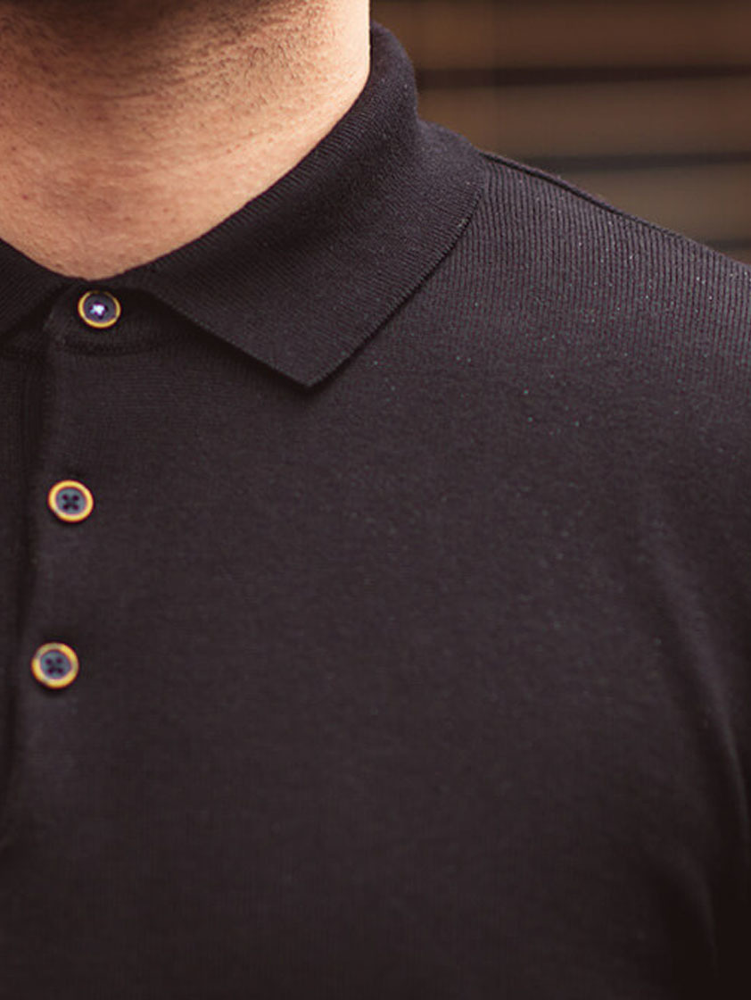Black Knitted Slim Fit Polo