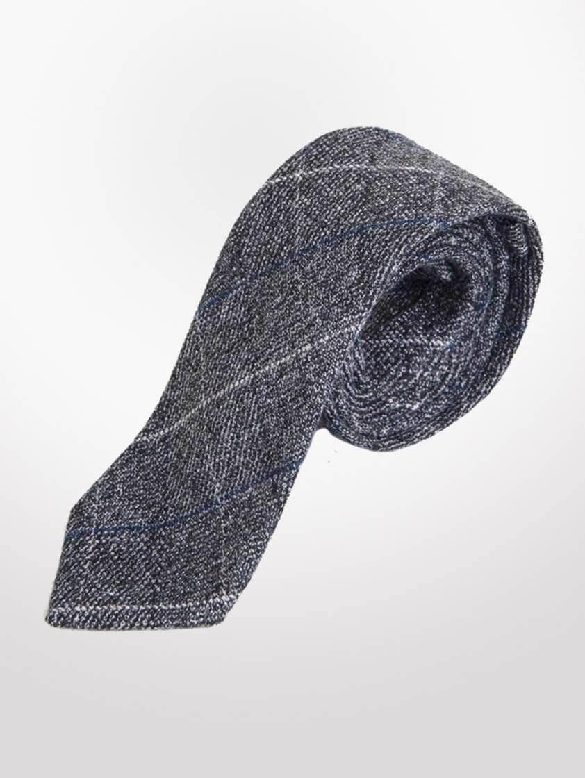 Grey Scott Tweed Check Tie