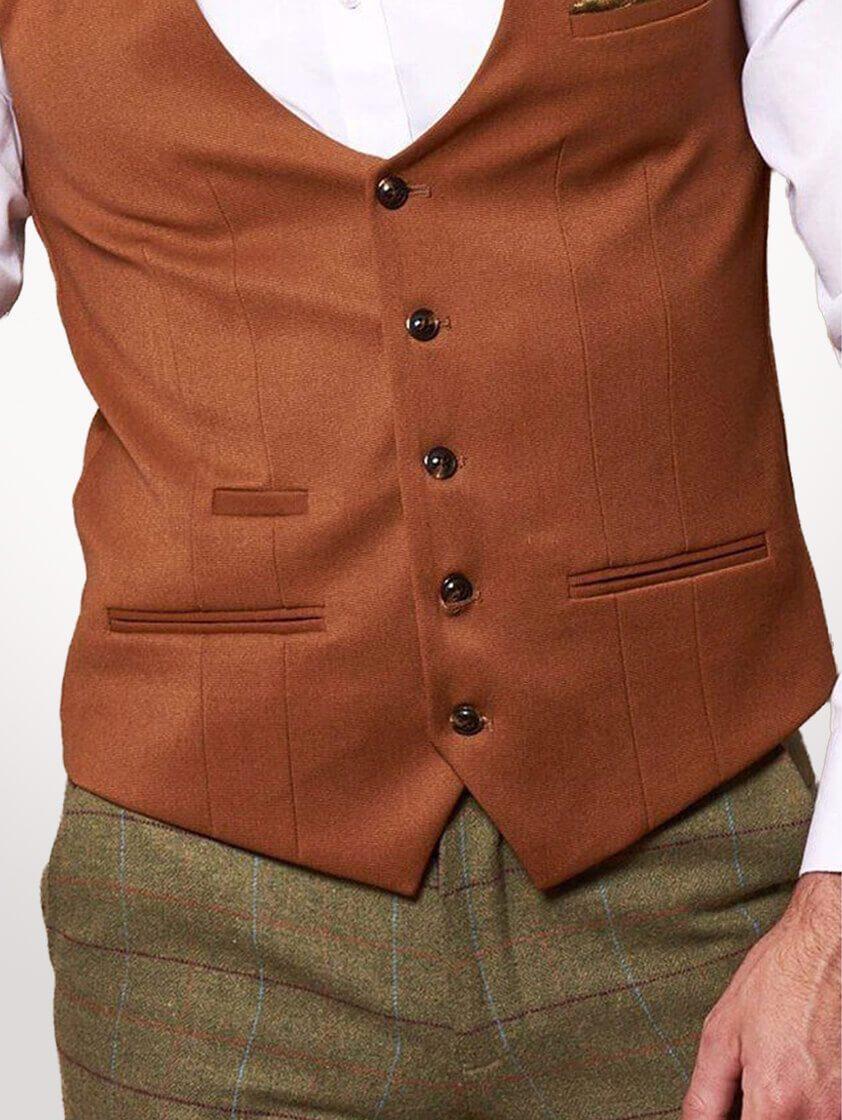 Dark Tan Kelly Single Breasted Waistcoat