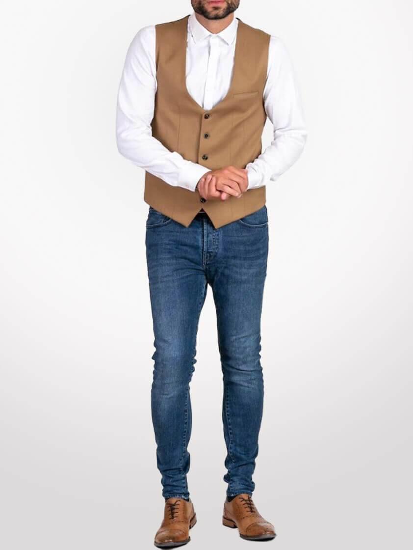 Tan Kelly Single Breasted Waistcoat