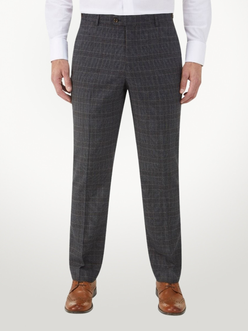 Charcoal Stelling Check Charcoal Tailored Trousers
