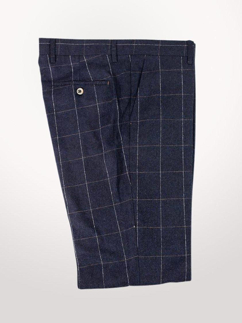 Navy Angels Slim Fit Check Tweed Trousers