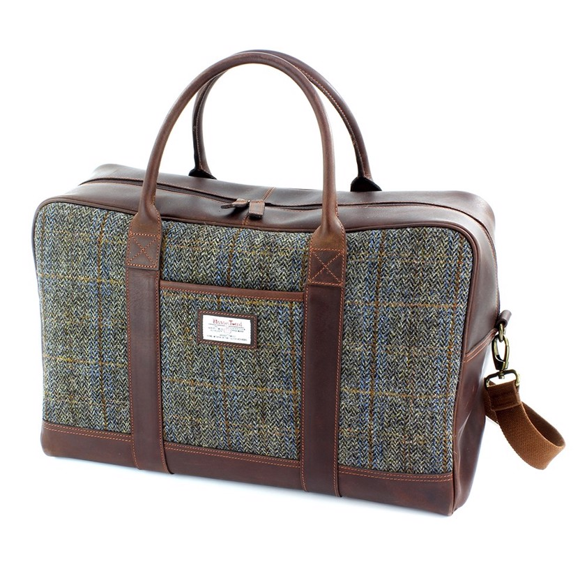 Brown Harris Tweed Carloway Leather Holdall Bag