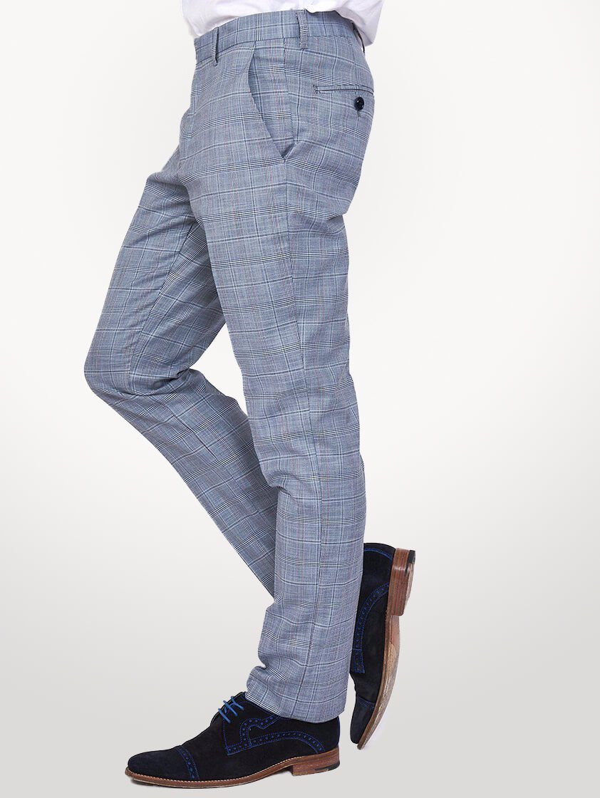 Light Blue York Check Slim Fit Trousers - Save 30%
