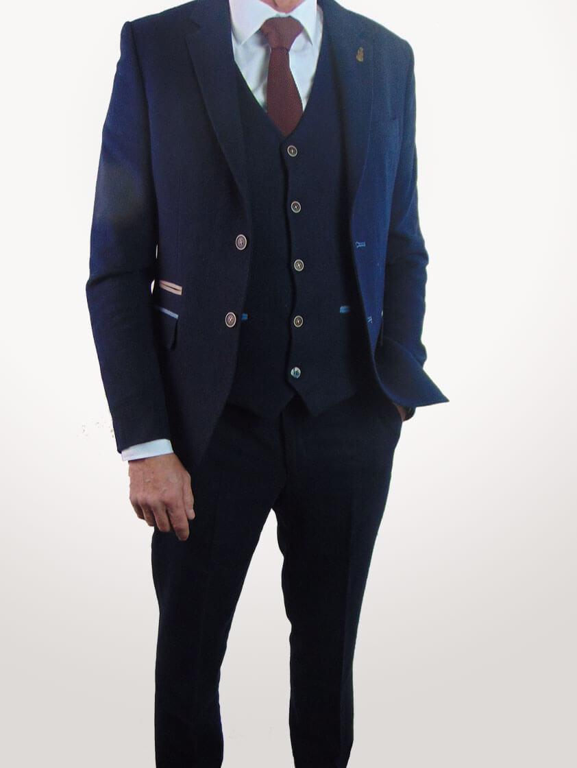 Navy Slim Fit Wool Blend Suit - Save 40%