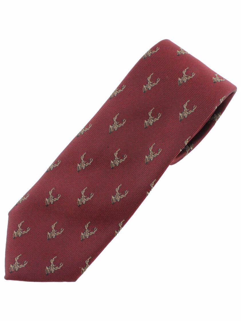 Burgundy Stag's Head Tie