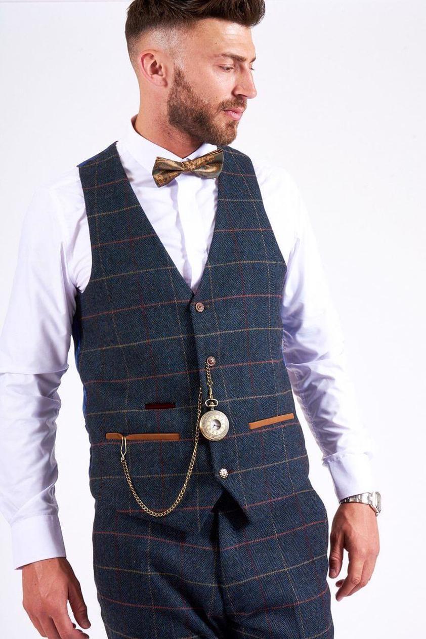 Blue Eton Single Breasted Check Tweed Waistcoat