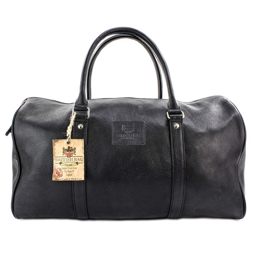Black Holdall Pebble Grain Lyndon  Leather Bag