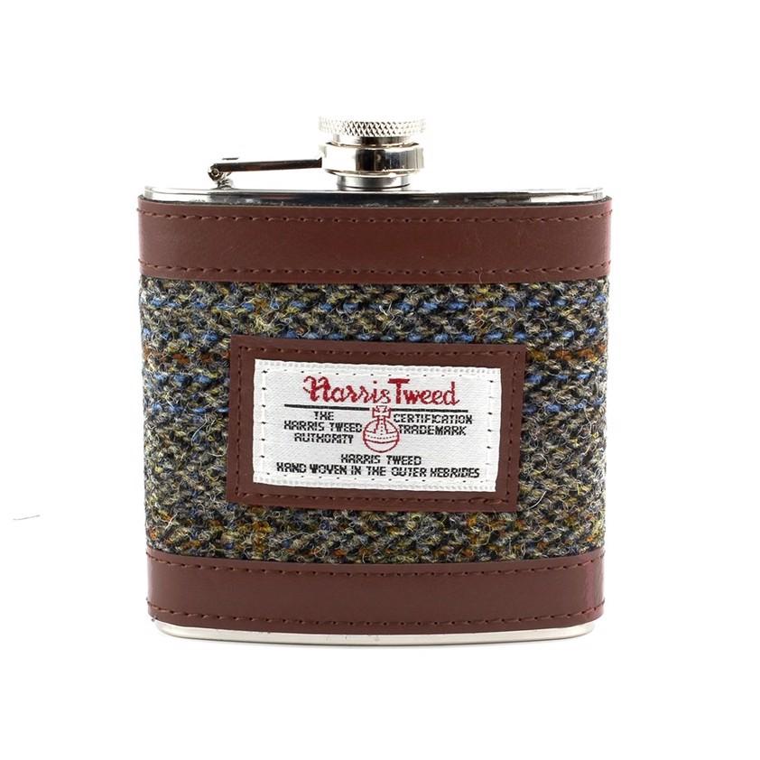 Brown Harris Tweed Carloway Hip Flask - SAVE 20%