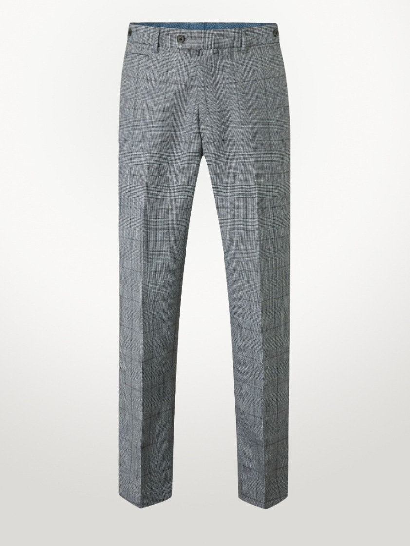 Navy Tudhope Check Tailored Trousers