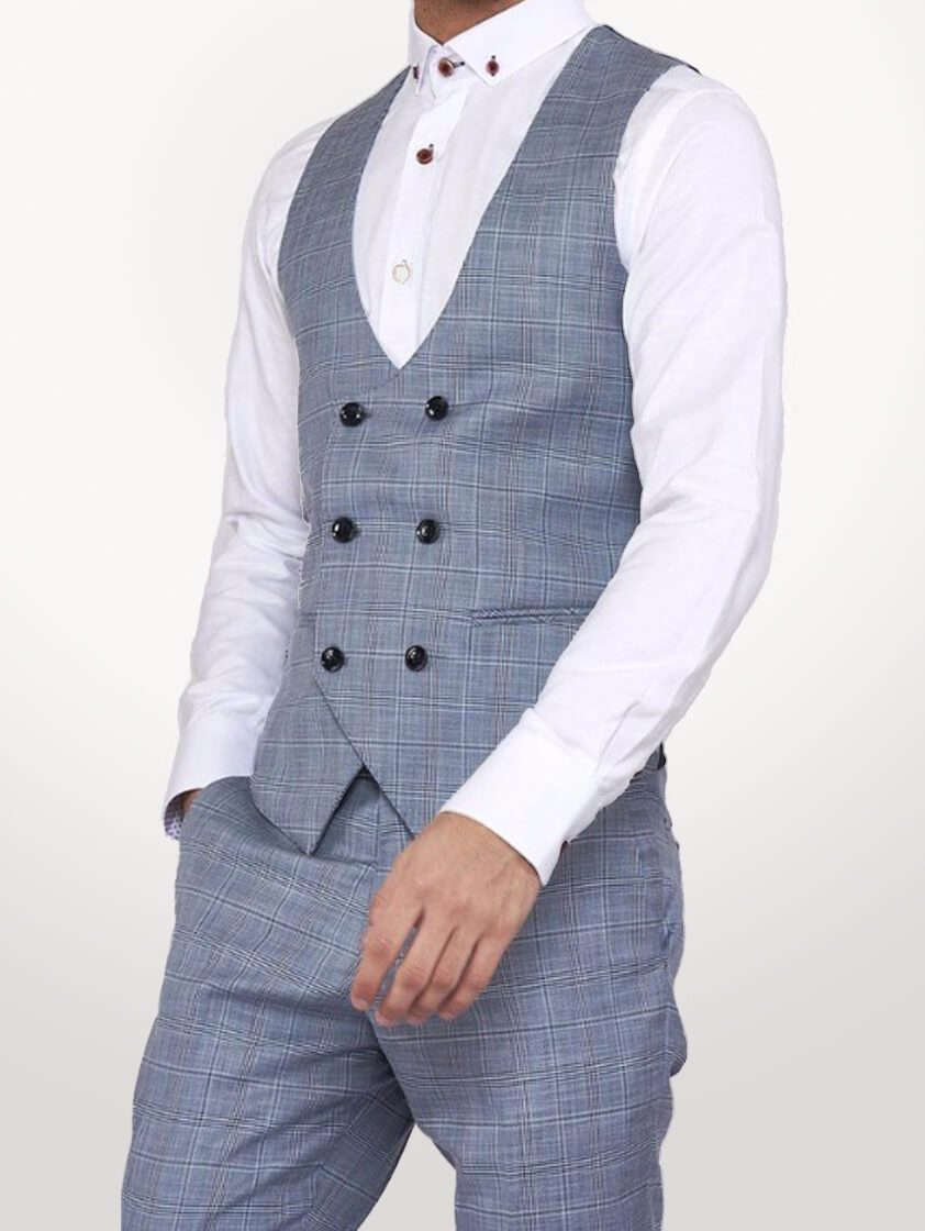 Light Blue York Double Breasted Waistcoat - Save 70%