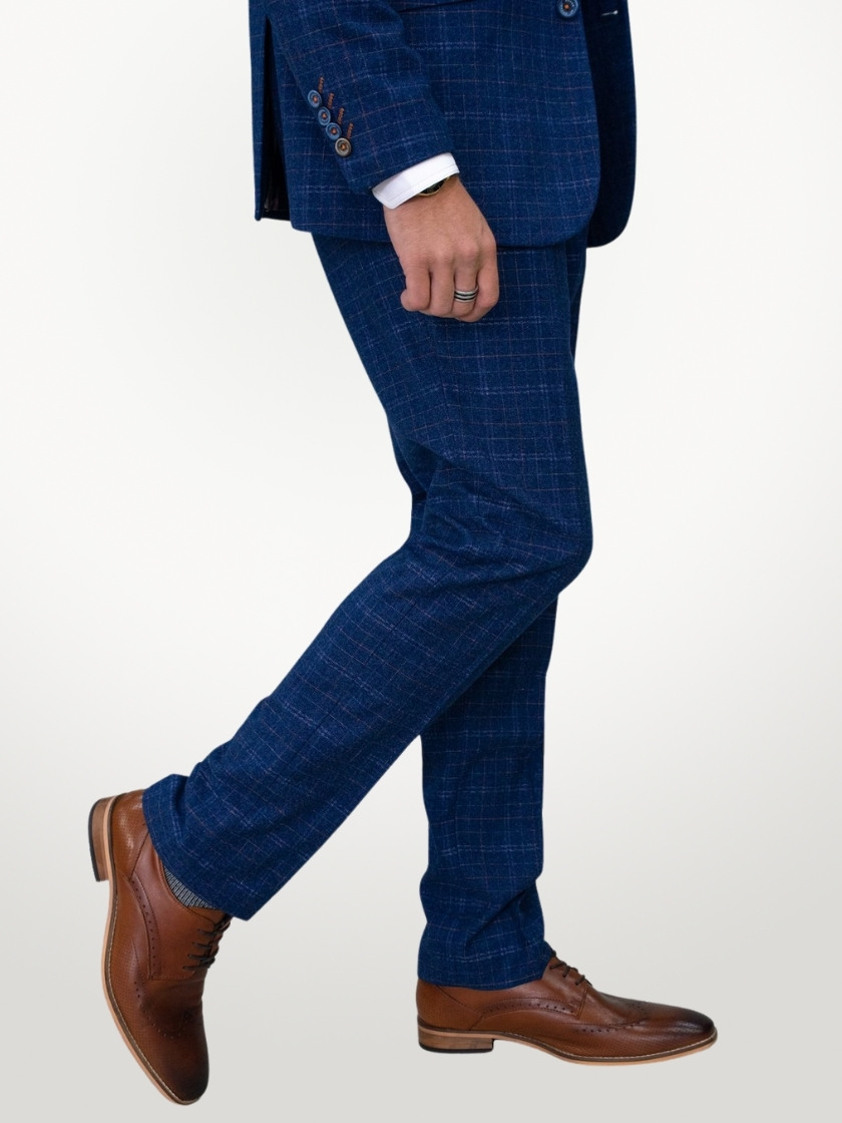 Blue Kaiser Slim Fit Check Tweed Trousers