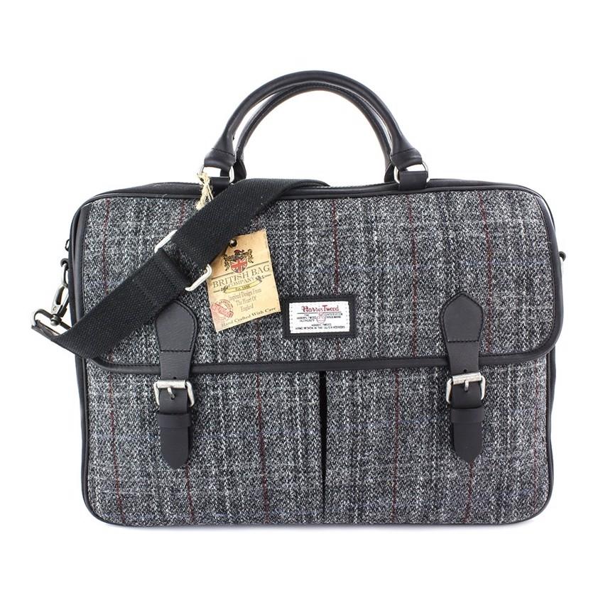 Grey Harris Tweed Berneray Leather Satchel Style  Bag