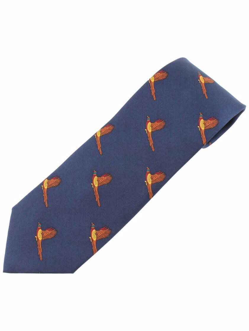 Navy Pheasent Print Tie