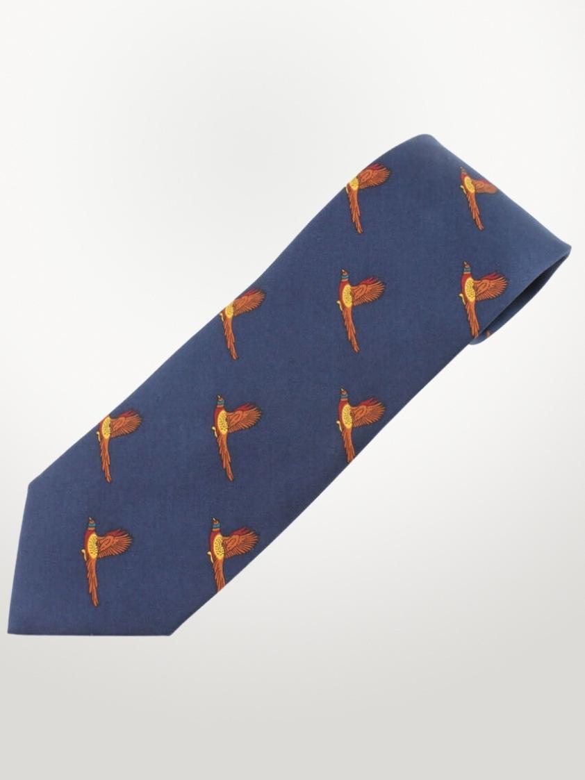 Navy Pheasant Print Tie