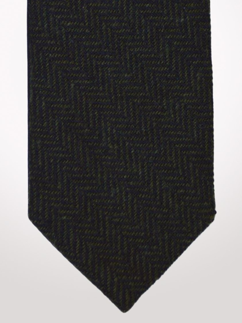 Green Tweed Herringbone Tie