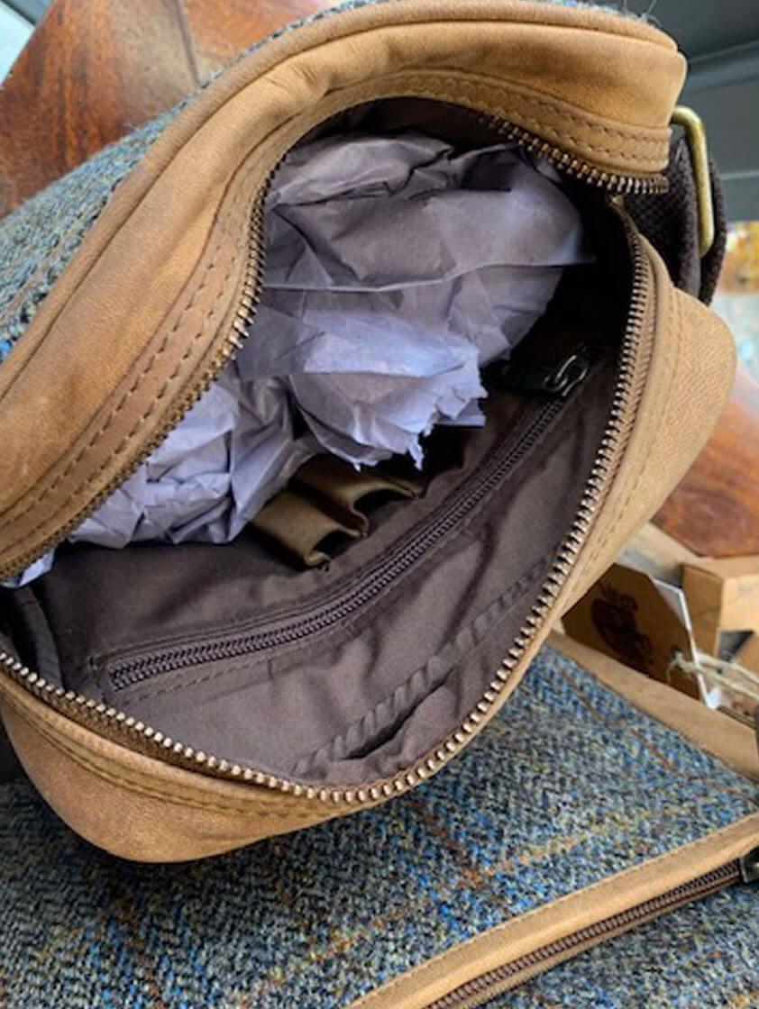 Brown Carloway Small Harris Tweed Cross Body Bag