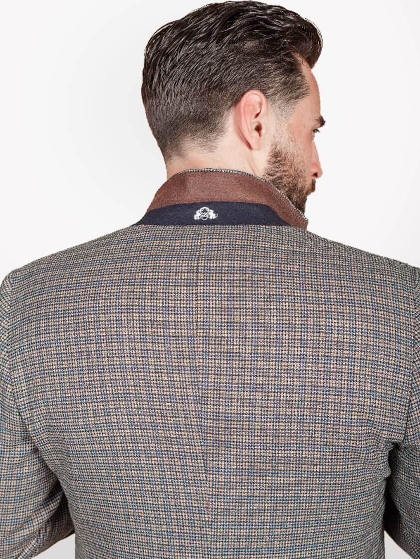 Navy/Tan Tweed Check Suit
