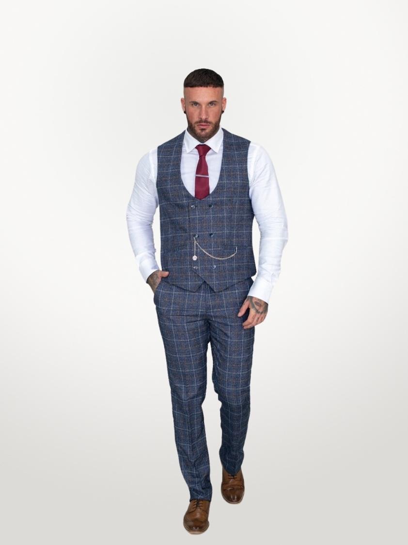 Blue Bonita Check Tweed Slim Fit Trousers