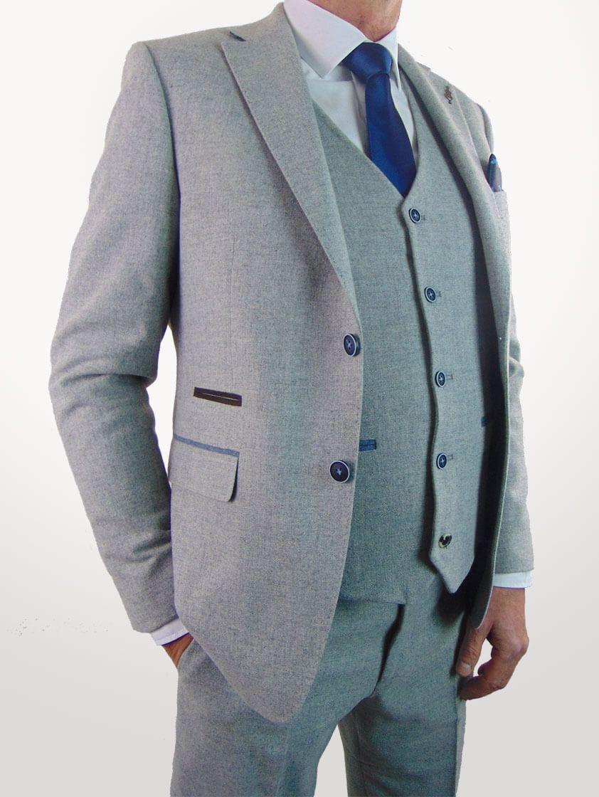 Silver Slim Fit Wool Blend Suit - Save 40%