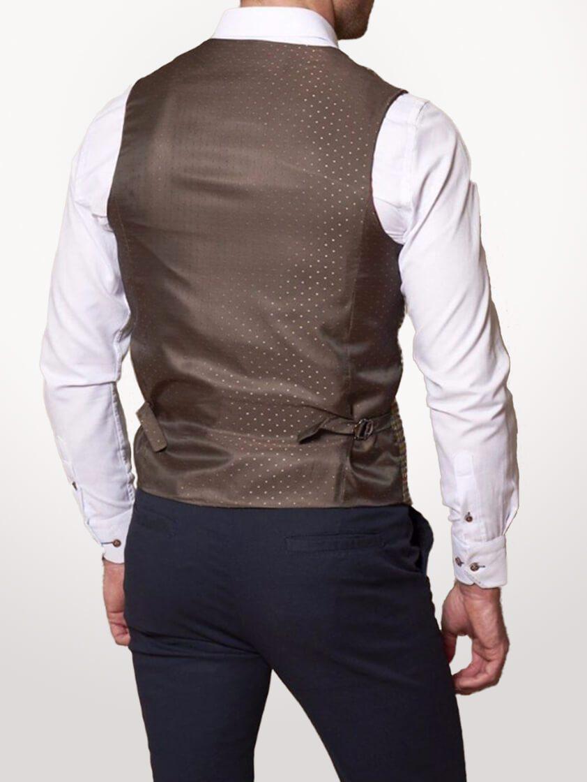 Tan Edward Tweed Style Check Waistcoat - Save 40%