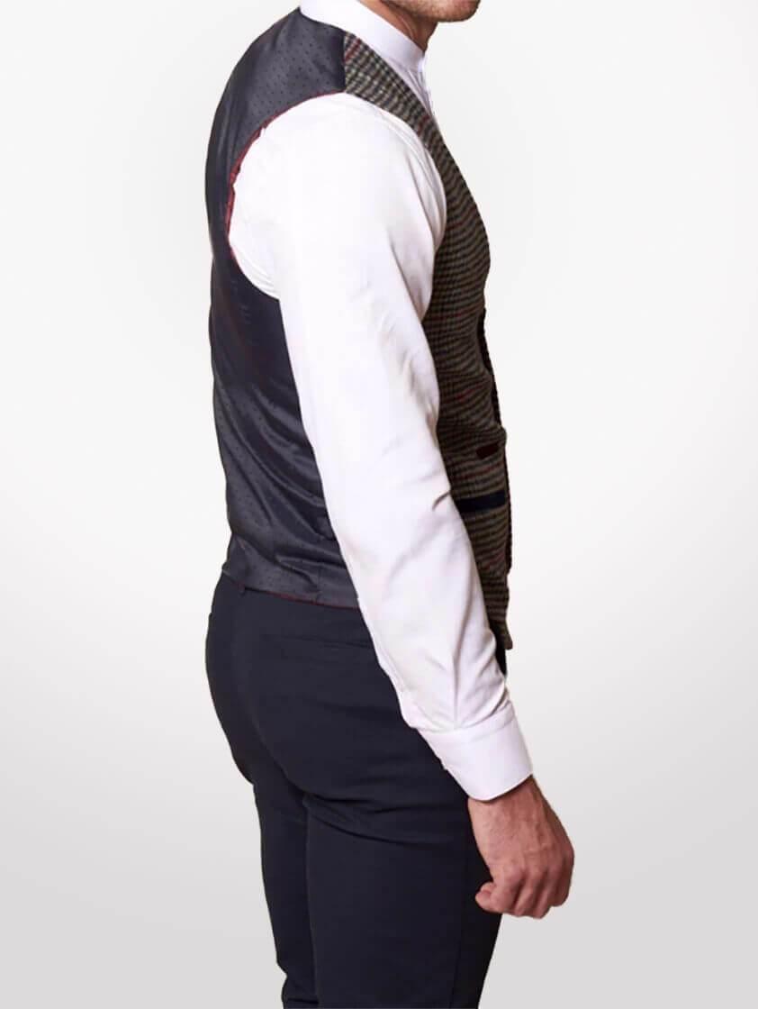 Grey Edward Tweed Style Check Waistcoat - Save 40%