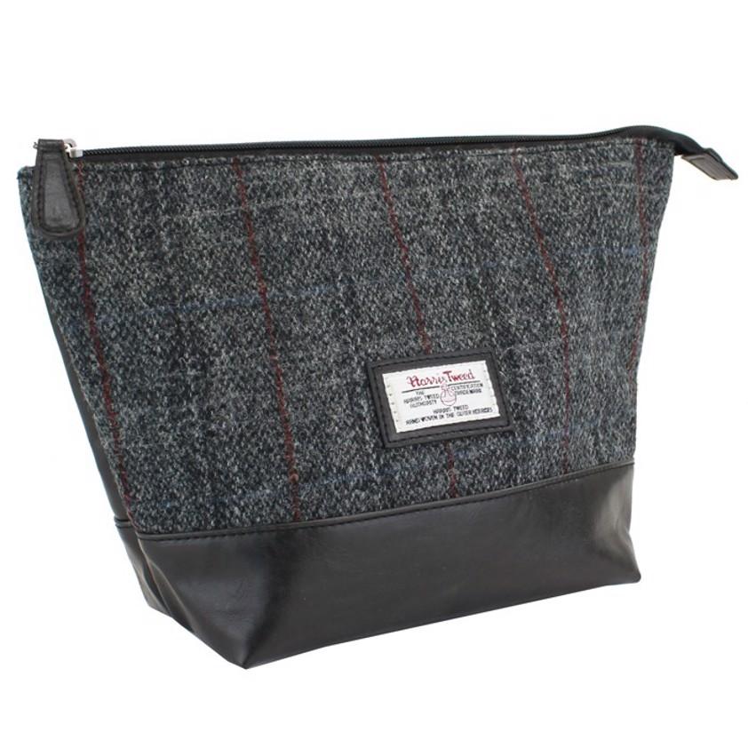 Grey Harris Tweed Berneray Black PU trimmed Wash  Bag