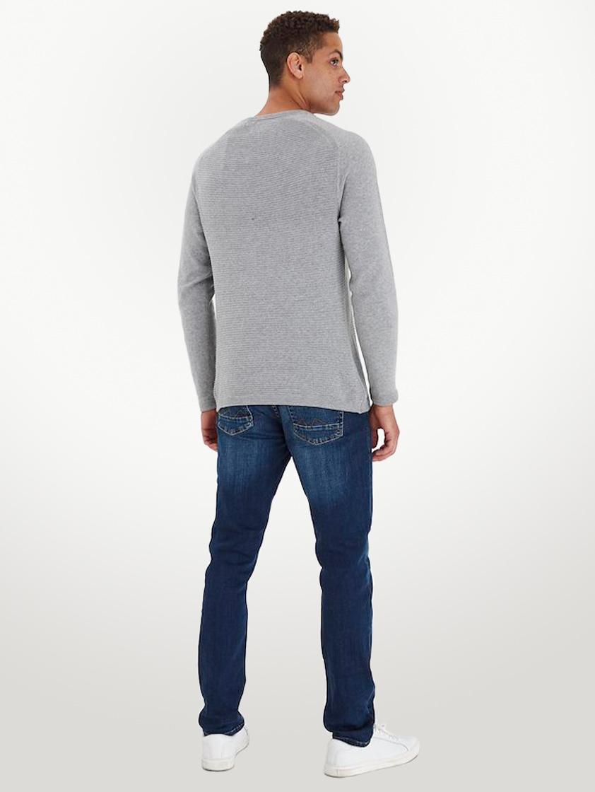 Light Grey Textured Crewneck Knit Jumper