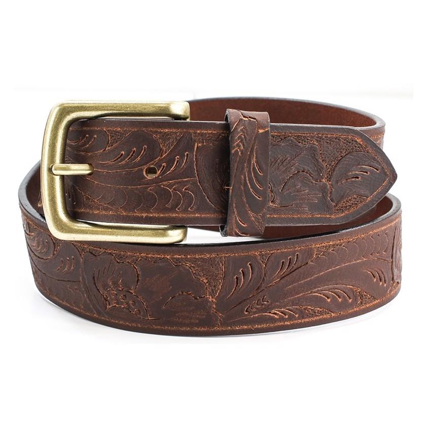 Black Embossed Patterned Leather  Belt