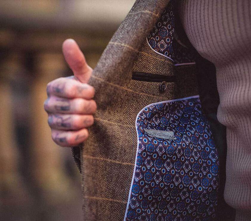 Tan Albert Tweed  Suit